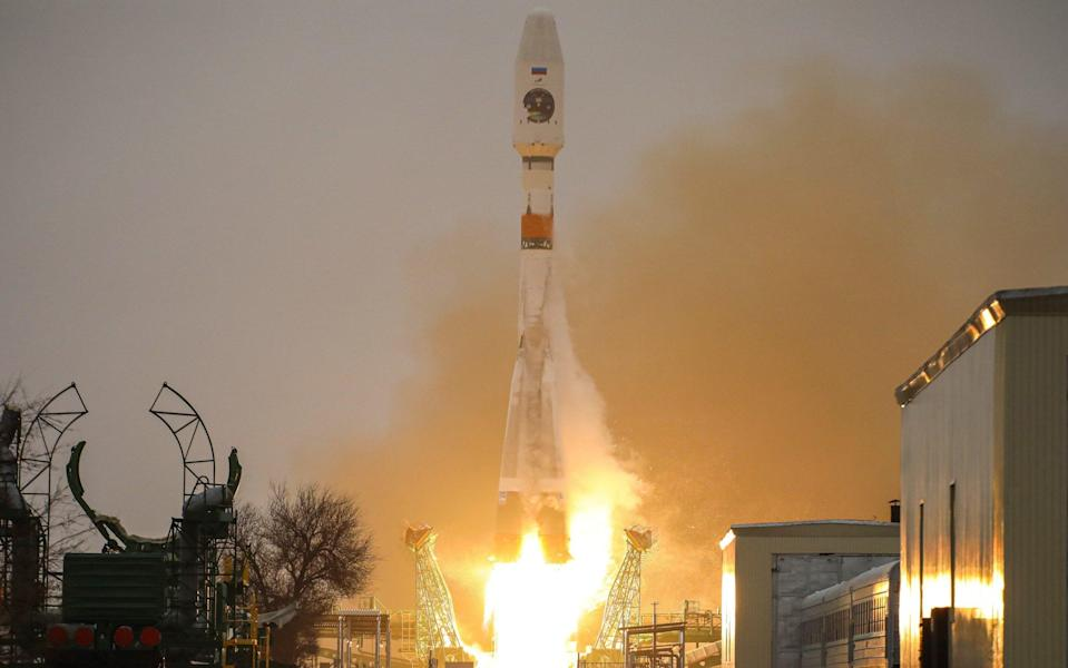 A Soyuz 2.1b rocket carrying the Arktika-M No 1 satellite launches from Baikonur Cosmodrome on Feb 28 - Roscomos\\TASS via Getty Images)