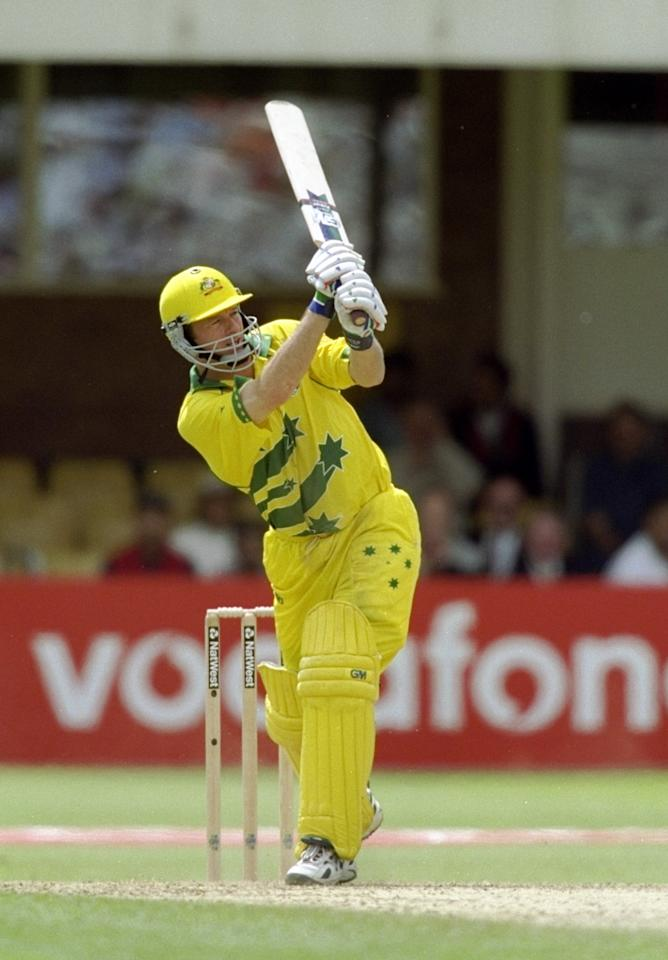 17 Jun 1999:  Steve Waugh of Australia on his way to a half century against South Africa in the World Cup semi-final at Edgbaston in Birmingham, England. The match finished a tie as Australia went through after finishing higher in the Super Six table. \ Mandatory Credit: Clive Mason /Allsport
