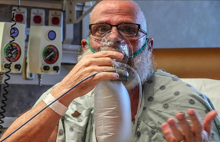 Mark Green, a Covid-19 patient speaks about his vaccine hesitancy on Friday, Sept. 24, 2021, at Hancock Regional Hospital, Greenfield Ind.