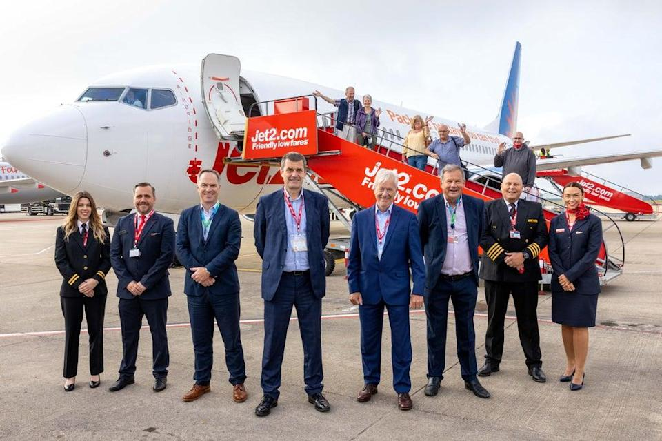 Going places? Jet2's chief executive, Steve Heapy, and his team at Bristol airport (Jet2)