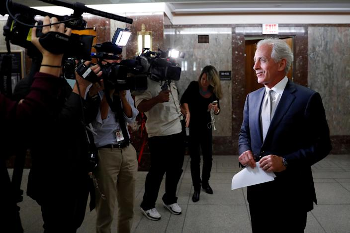 Sen. Bob Corker, R-Tenn., speaks with reporters on Capitol Hill last September after announcing his retirement at the conclusion of his term. (Photo: Aaron P. Bernstein/Reuters)