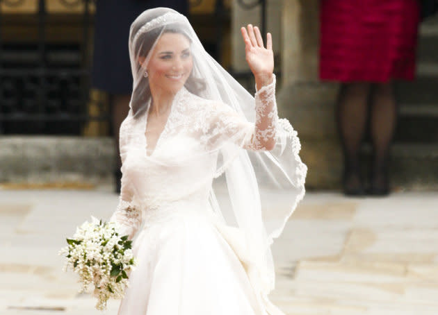 Kate Middleton arrives to Westminster Abbey for her marriage to Prince William in London April 29, 2011.