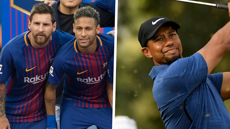 Tiger Woods posts photo hanging with kids and soccer stars Messi, Saurez