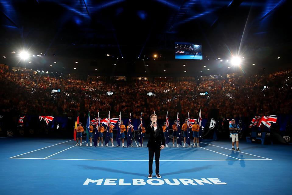 MELBOURNE, AUSTRALIA - JANUARY 26:  Beau Woodbridge sings the national anthem at the Australia Day Ceremony held on Rod Laver Arena on day 12 of the 2018 Australian Open at Melbourne Park on January 26, 2018 in Melbourne, Australia.  (Photo by Mark Kolbe/Getty Images)