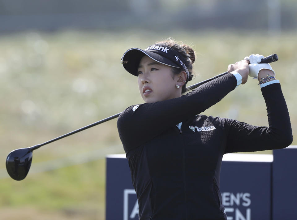United States' Yealimi Noh drives off the 5th tee during the final round of the Women's British Open golf championship, in Carnoustie, Scotland, Sunday, Aug. 22, 2021. (AP Photo/Scott Heppell)