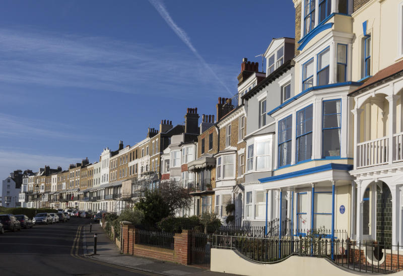 Housing architecture on Ramsgate's Royal Parade, on 8th January 2019, in Ramsgate, Kent, England. The Port of Ramsgate has been identified as a 'Brexit Port' by the government of Prime Minister Theresa May, currently negotiating the UK's exit from the EU. Britain's Department of Transport has awarded to an unproven shipping company, Seaborne Freight, to provide run roll-on roll-off ferry services to the road haulage industry between Ostend and the Kent port - in the event of more likely No Deal Brexit. In the EU referendum of 2016, people in Kent voted strongly in favour of leaving the European Union with 59% voting to leave and 41% to remain. (Photo by Richard Baker / In Pictures via Getty Images Images)
