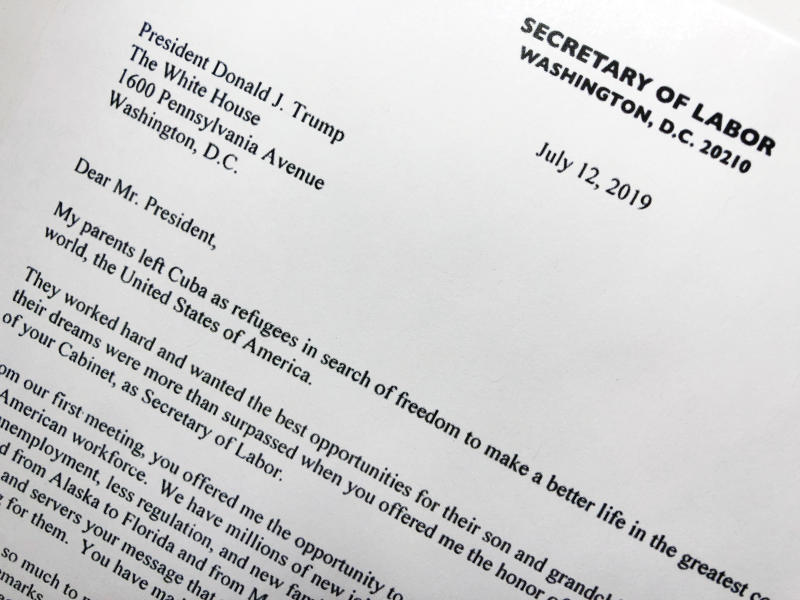 Part of the resignation letter from Labor Secretary Alex Acosta to President Donald Trump is photographed in Washington, Friday, July 12, 2019. Acosta said he is resigning following renewed scrutiny of his handling of a 2008 secret plea deal with wealthy financier Jeffrey Epstein , who is accused of sexually abusing dozens of underage girls. (AP Photo/Wayne Partlow)