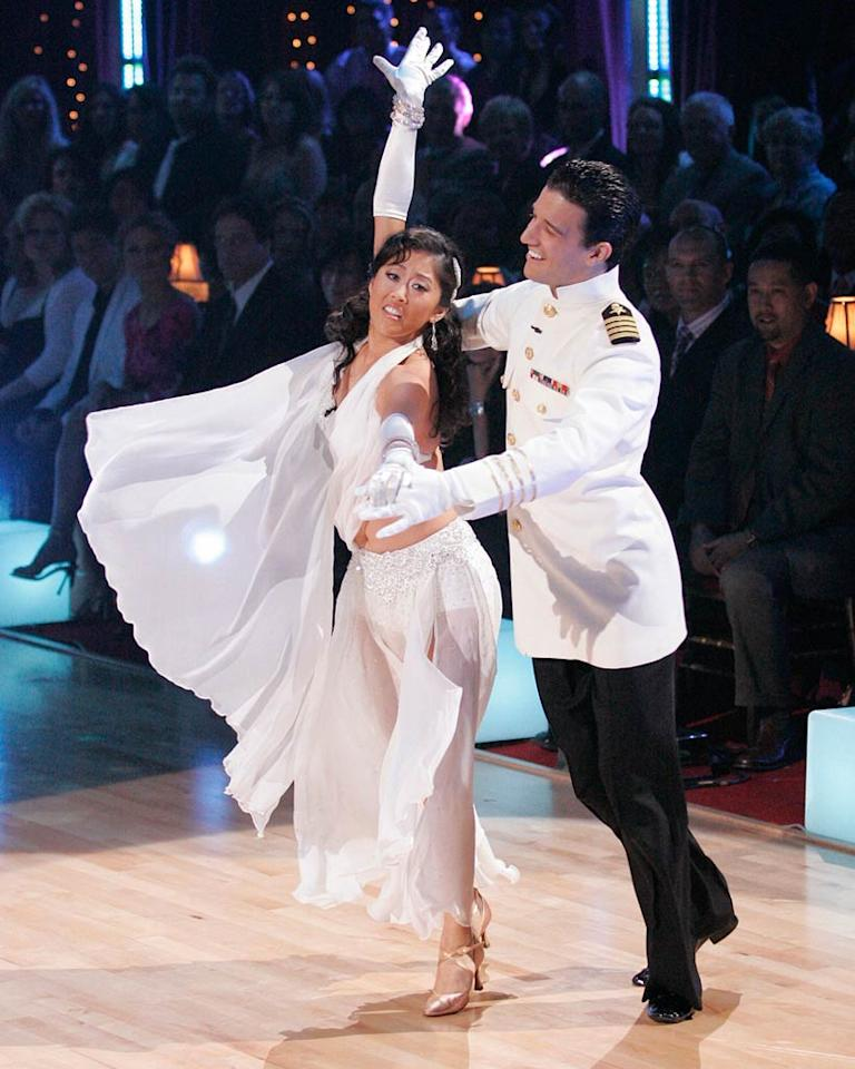 Kristi Yamaguchi and Mark Ballas perform a dance on the sixth season of Dancing with the Stars.