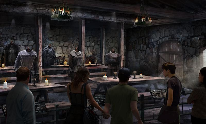 Concept art for the Game of Thrones tour: The Castle Black Mess Hall (HBO)