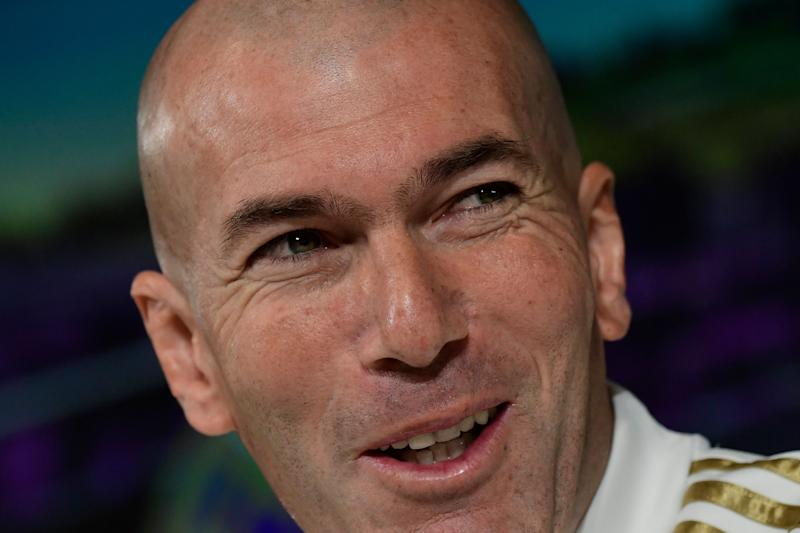 Real Madrid's French coach Zinedine Zidane attends a press conference at the Real Madrid City sports facilities in Madrid on December 17, 2019, on the eve of their Spanish League football match against Barcelona FC. (Photo by JAVIER SORIANO / AFP) (Photo by JAVIER SORIANO/AFP via Getty Images)