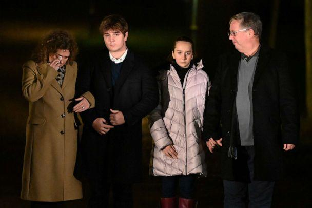 PHOTO: The family of Capt. Sir Tom Moore participate in a doorstep clap in memory of Captain Sir Tom Moore, Feb. 3, 2021, in Marston Moretaine, England. (Leon Neal/Getty Images)