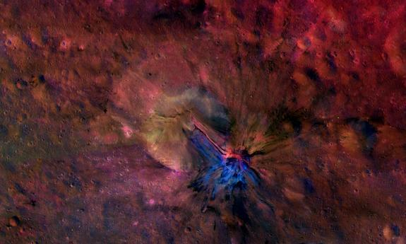 Scientists created this composite image of Vesta's crater Aelia, revealing the flow material on the inside and outside of the crater.