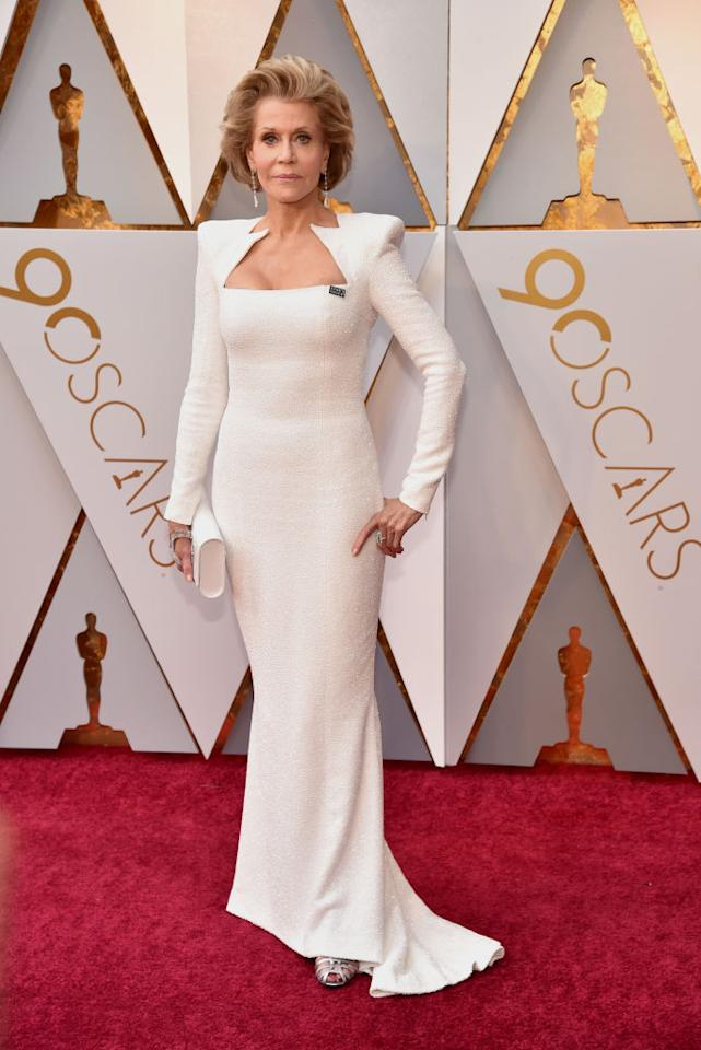 <p>The 80-year-old actress stunned in a tight white dress by Balmain that featured shoulder pads. (Photo: Getty Images) </p>
