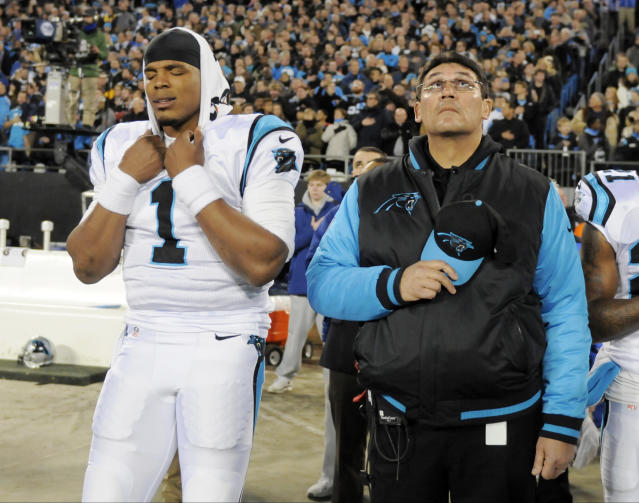 Cam Newton, pictured with head coach Ron Rivera before 2016's NFC title game, says Colin Kaepernick is still good enough to have a job in the NFL. (AP)