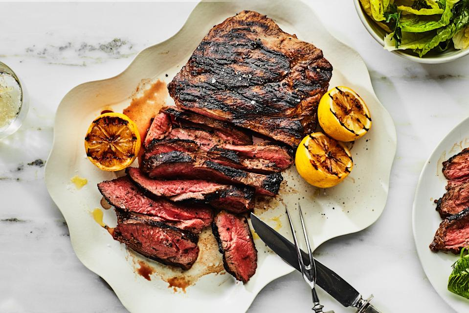"""The uniform thickness of a butterflied boneless leg of lamb makes it extremely simple to cook and serve. This cut of meat shouldn't be hard to find, but if you get one that is boned and tied, ask your butcher to butterfly it. <a href=""""https://www.epicurious.com/recipes/food/views/grilled-marinated-leg-of-lamb-234655?mbid=synd_yahoo_rss"""" rel=""""nofollow noopener"""" target=""""_blank"""" data-ylk=""""slk:See recipe."""" class=""""link rapid-noclick-resp"""">See recipe.</a>"""