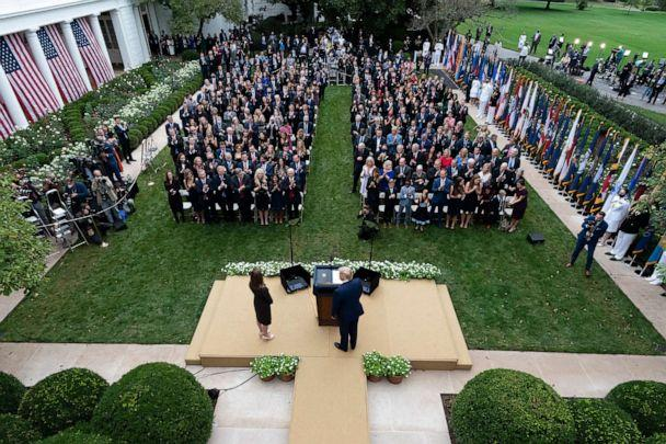 PHOTO:President Donald Trump, center, stands with Judge Amy Coney Barrett as they arrive for a news conference to announce Barrett as his nominee to the Supreme Court, in the Rose Garden at the White House, Sept. 26, 2020, in Washington. (Alex Brandon/AP)