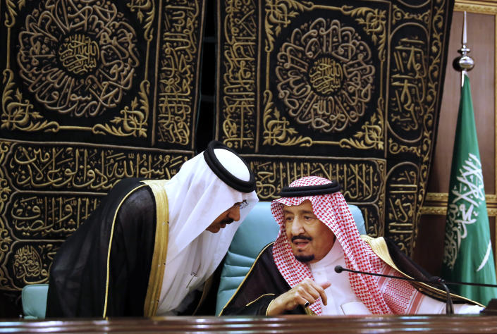 """FILE: In this June 1, 2019 file photo, Saudi King Salman chairs the Islamic Summit of the Organization of Islamic Cooperation (OIC) in Mecca, Saudi Arabia. May 31 and June 1 Salman hosts three high-level summits in Mecca, drawing heads of state from across the Middle East and Muslim countries to present a unified Muslim and Arab position on Iran. The monarch called on the international community to use all means to confront Iran and accuses the Shiite power of being behind """"terrorist operations"""" that targeted Saudi oil interests. (AP Photo/Amr Nabil, File)"""