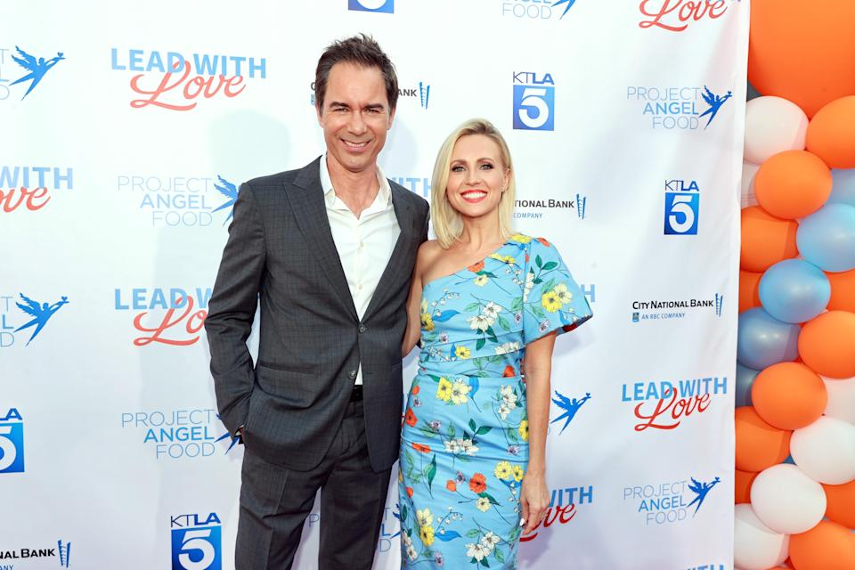 """Jessica Holmes and Eric McCormack attend Project Angel Food """"Lead With Love 2021"""" at KTLA 5 on July 17, 2021 in Los Angeles, California. (Photo by Emma McIntyre/Getty Images for Project Angel Food) - Credit: Getty Images for Project Angel F"""