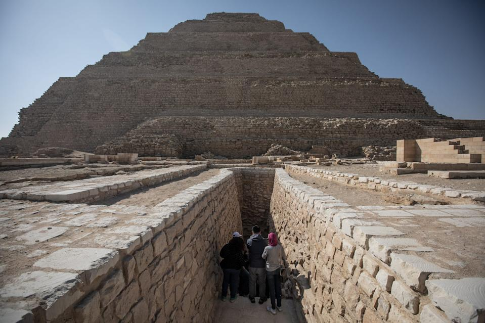 People enter the Pyramid of Djoser in Saqqara outside Cairo.
