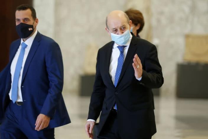 French Foreign Minister Le Drian meets Lebanon's President Aoun in Baabda