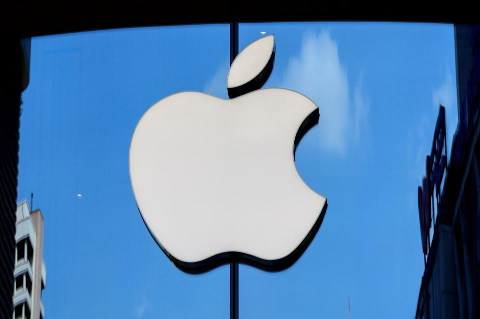 The Apple logo is seen on a window of the company's store in Bangkok on March 5, 2021. (Photo by Mladen ANTONOV / AFP) (Photo by MLADEN ANTONOV/AFP via Getty Images)