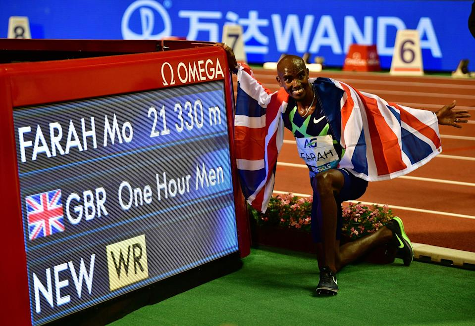 Britain's Mo Farah celebrates after victory and a world record, September 2020
