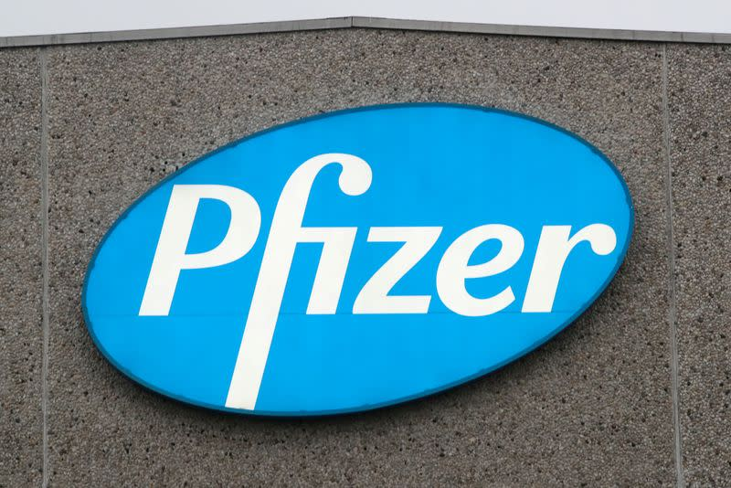 FILE PHOTO: A logo of Pfizer is seen at the entrance to the Pfizer factory in Puurs