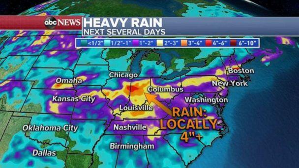 PHOTO: Heavy rain is likely the next few days for much of the U.S. (ABC News)