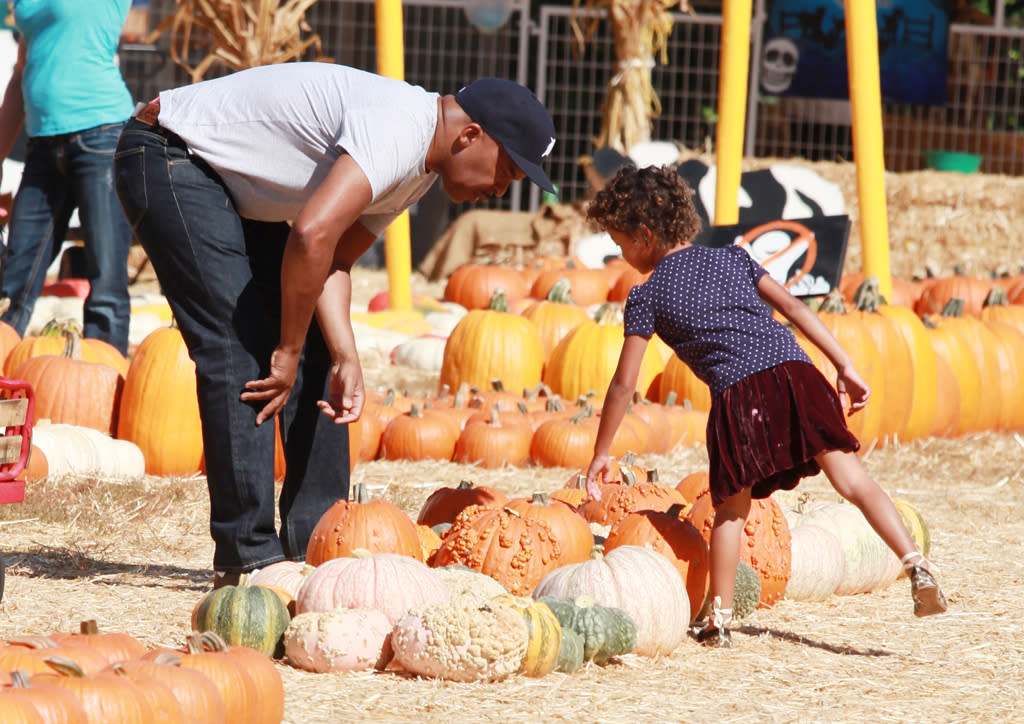 David Alan Grier takes his daughter to Mr. Bones pumpkin patch in West Hollywood, CA.