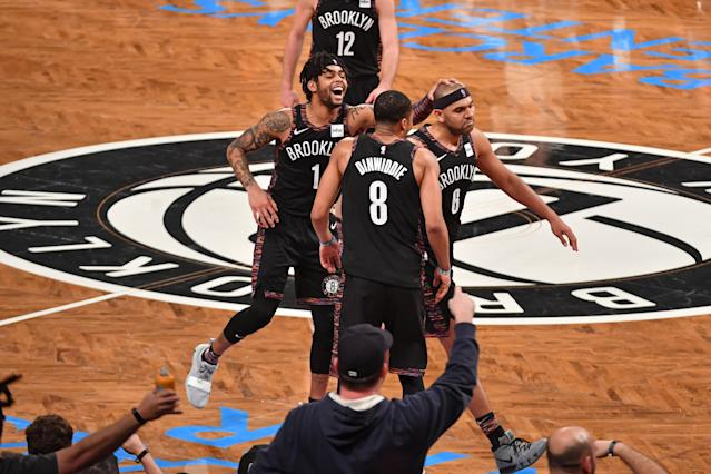 D'Angelo Russell, Spencer Dinwiddie and Jared Dudley like how the Nets are rolling. (Getty)