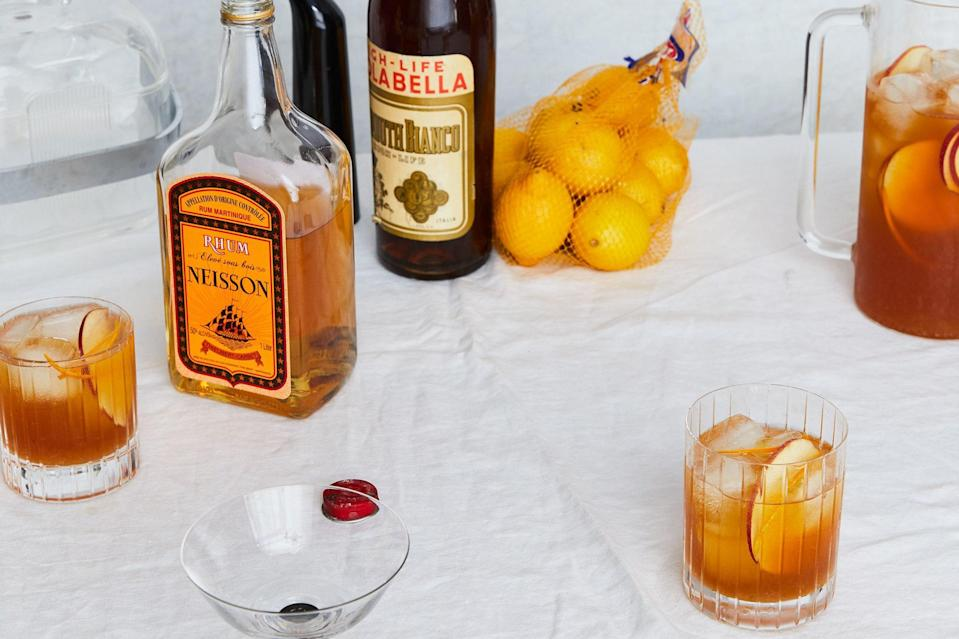 """Hard ciders can range from bone-dry to rather sweet, so take a sip and adjust the simple syrup if needed. <a href=""""https://www.epicurious.com/recipes/food/views/apple-cider-and-rum-punch?mbid=synd_yahoo_rss"""" rel=""""nofollow noopener"""" target=""""_blank"""" data-ylk=""""slk:See recipe."""" class=""""link rapid-noclick-resp"""">See recipe.</a>"""