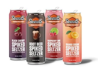 Stewart's Spiked Seltzer has Four Introductory Flavors: Black Cherry, Root Beer, Raspberry Lime and Orange Cream.