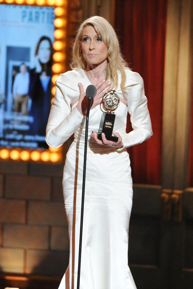 """FILE - This June 9, 2013 file photo shows actress Judith Light accepting the award for Best Performance by an actress in a featured role in a play for her role in """"The Assembled Parties,"""" at the 67th Annual Tony Awards in New York. Six alumni from Carnegie Mellon University took home Tonys in five categories, a glittery haul that was both a school record and a huge source of pride for a theater department that turns 100 next year. Billy Porter, Patina Miller and Judith Light each took home acting Tonys, while Ann Roth got one for best costume design, and partners Jules Fisher and Peggy Eisenhauer won for best lighting design of a play. (Photo by Evan Agostini/Invision/AP, file)"""