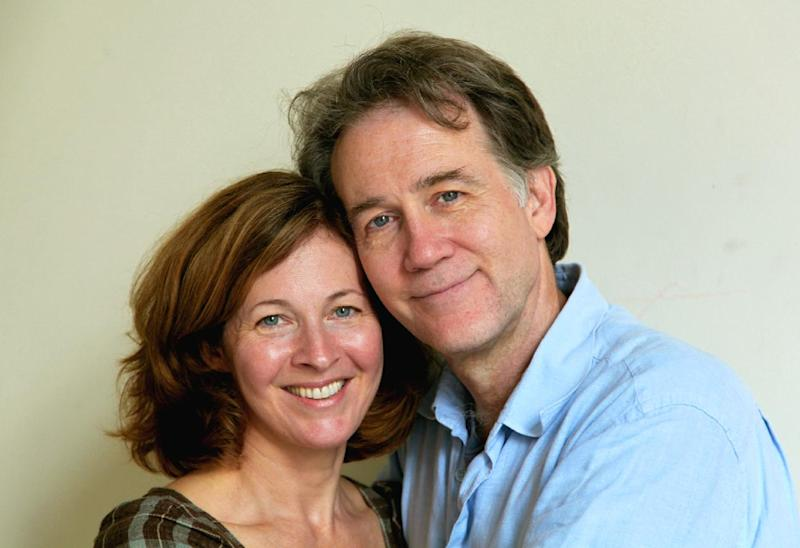 "FILE - This Aug. 22, 2012 file photo shows the actors Boyd Gaines and Kathleen McNenny after rehearsals in New York for the play, Manhattan Theatre Club's ""An Enemy of the People."" They began dating after meeting during a 1992 Public Theater production of William Shakespeare's ""The Comedy of Errors"" in Central Park. (AP Photo/Mark Kennedy, File)"