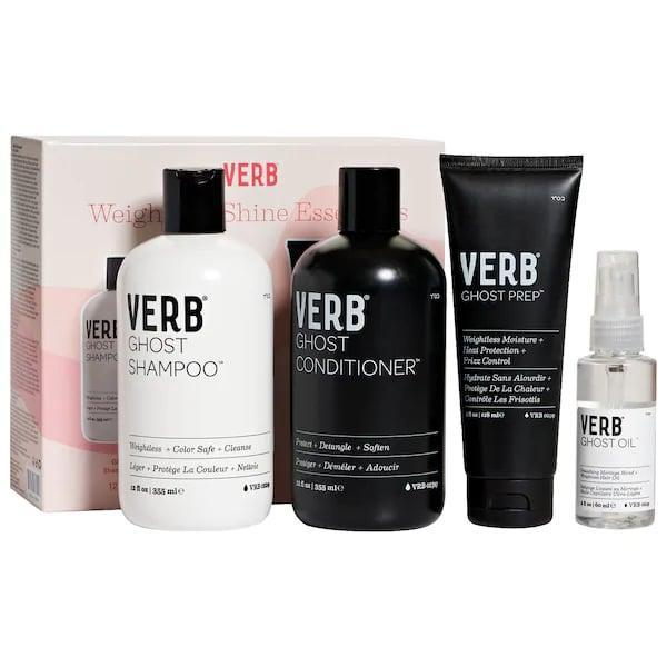 <p>This <span>Verb Weightless Shine Essentials Ghost Set</span> ($50) features four incredibly lightweight products that won't weigh down fine hair as it's washed, moisturized, and protected.</p>