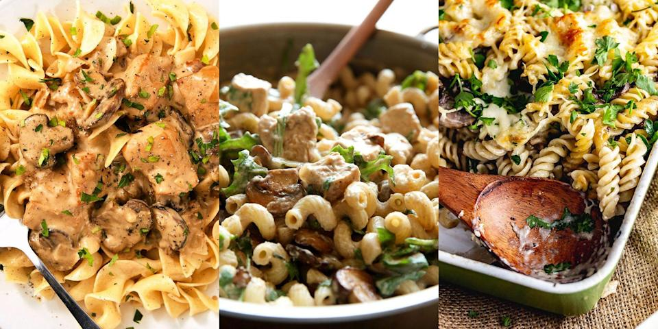 """<p>A creamy mushroom pasta is everything. Whether it's as simple as a <a href=""""https://www.delish.com/uk/cooking/recipes/a32182008/garlic-butter-mushroom-pasta-recipe/"""" rel=""""nofollow noopener"""" target=""""_blank"""" data-ylk=""""slk:Garlic Butter Mushroom Pasta"""" class=""""link rapid-noclick-resp"""">Garlic Butter Mushroom Pasta</a>, or as loaded as a <a href=""""https://www.delish.com/uk/cooking/recipes/a36838969/easy-pasta-primavera-recipe/"""" rel=""""nofollow noopener"""" target=""""_blank"""" data-ylk=""""slk:Pasta Primavera"""" class=""""link rapid-noclick-resp"""">Pasta Primavera</a>, we love nothing more. And we're guessing you do too! Otherwise, why would you be searching high and low for the best ways to use up those mushrooms? Well, with everything from <a href=""""https://www.delish.com/uk/cooking/recipes/a29019031/creamy-chicken-mushroom-pasta-recipe/"""" rel=""""nofollow noopener"""" target=""""_blank"""" data-ylk=""""slk:Creamy Chicken and Mushroom Pasta"""" class=""""link rapid-noclick-resp"""">Creamy Chicken and Mushroom Pasta</a> to <a href=""""https://thecookreport.co.uk/"""" rel=""""nofollow noopener"""" target=""""_blank"""" data-ylk=""""slk:Mushroom Pasta Bake"""" class=""""link rapid-noclick-resp"""">Mushroom Pasta Bake</a>, we're sure you'll find something delicious to make in no time. </p><p>For a selection of easy mushroom pasta recipes, take a look at our top 10 now. You won't be disappointed.</p>"""