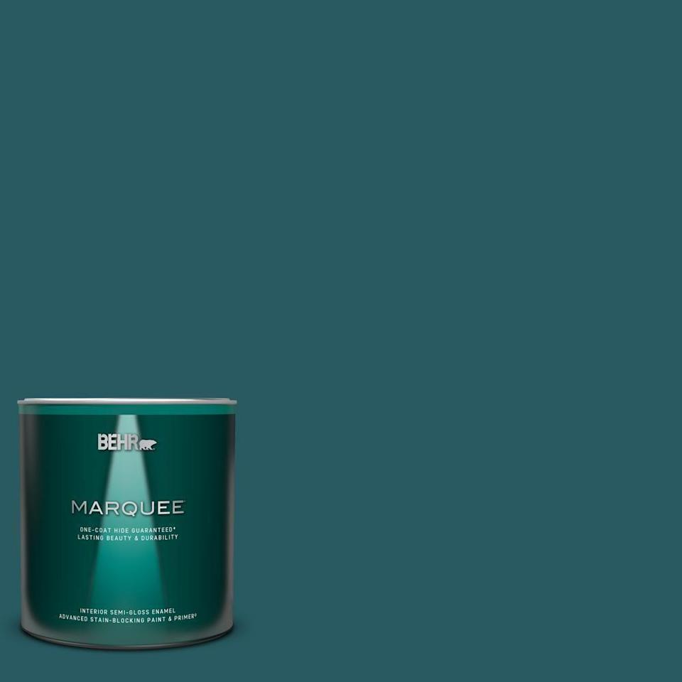 """<p><strong>BEHR MARQUEE</strong></p><p>homedepot.com</p><p><strong>$21.98</strong></p><p><a href=""""https://go.redirectingat.com?id=74968X1596630&url=https%3A%2F%2Fwww.homedepot.com%2Fp%2FBEHR-MARQUEE-1-qt-PPF-56-Terrace-Teal-Semi-Gloss-Enamel-Interior-Paint-Primer-345304%2F310925005&sref=https%3A%2F%2Fwww.elledecor.com%2Fhome-remodeling-renovating%2Fhome-makeovers%2Fg36087440%2Feasy-diy-home-renovation-projects%2F"""" rel=""""nofollow noopener"""" target=""""_blank"""" data-ylk=""""slk:Shop Now"""" class=""""link rapid-noclick-resp"""">Shop Now</a></p><p>If a piece of furniture just isn't transforming your space enough, take a look at your walls. A neutral home is popular, but adding a pop of color with an accent wall (or two!) can actually brighten up your room more than you anticipated. Try different swatches to see what will complement your furniture.</p>"""