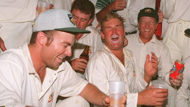 Pictured here, Shane Warne celebrates with teammates during The Ashes.