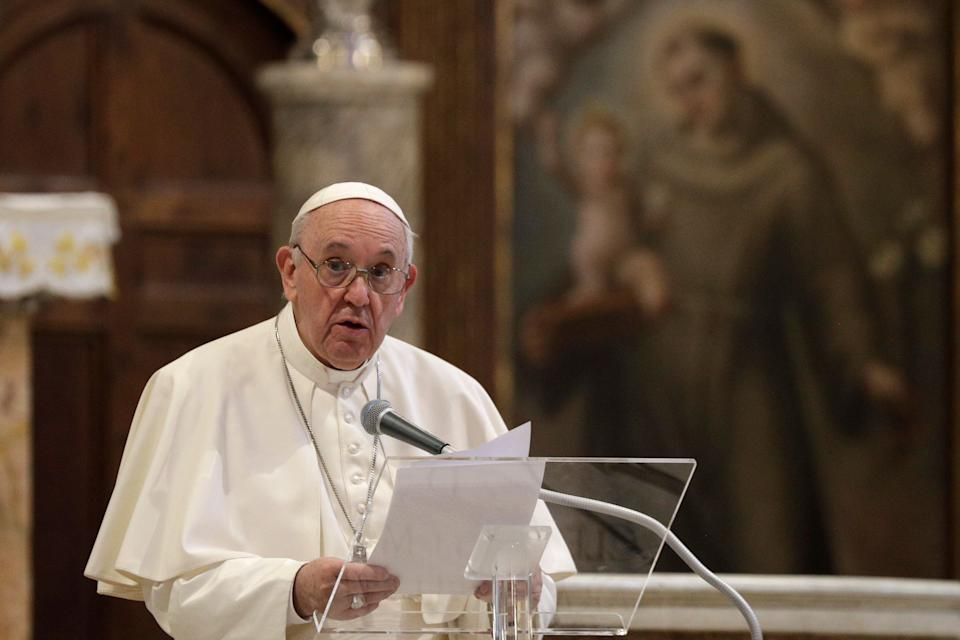 """""""What we have to have is a civil union law; that way they are legally covered,"""" Pope Francis says about same-sex civil unions in a new documentary. (Photo: Gregorio Borgia/ASSOCIATED PRESS)"""
