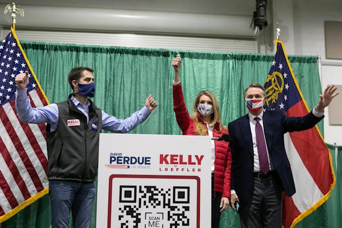 From left, Tom Cotton, Kelly Loeffler and David Purdue