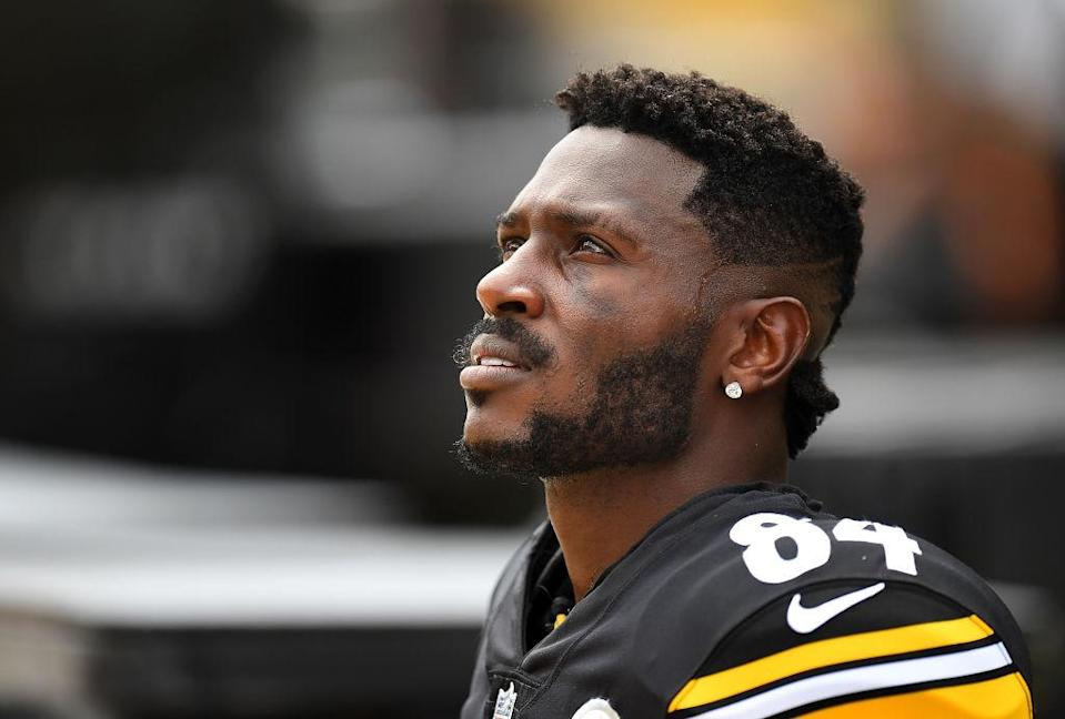 Antonio Brown is accused of throwing furniture from a high balcony. (Getty)