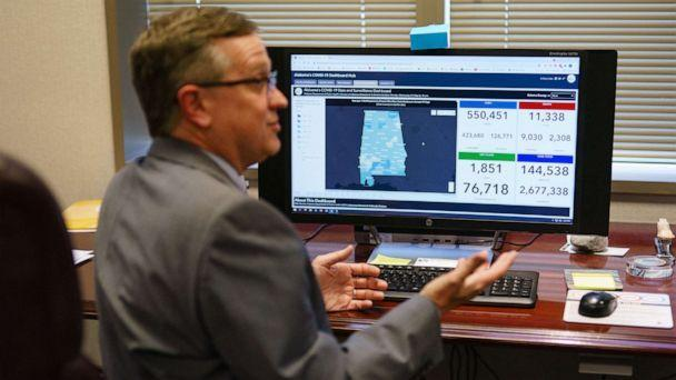 PHOTO: Scott Harris, Alabama's State Health Officer, discusses his state's vaccination data in his office, June 29, 2021, in Montgomery, Ala.  (Elijah Nouvelage/AFP via Getty Images)