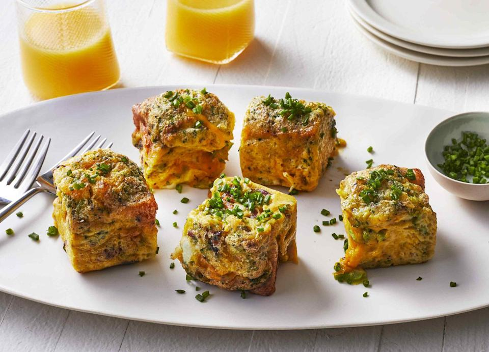 """<p><strong>Recipe: <a href=""""https://www.southernliving.com/recipes/instant-pot-egg-bites"""" rel=""""nofollow noopener"""" target=""""_blank"""" data-ylk=""""slk:Instant Pot Egg Bites"""" class=""""link rapid-noclick-resp"""">Instant Pot Egg Bites</a></strong></p> <p>These protein-packed bites are perfect for customizing. Skip the pork bacon and swap in turkey bacon or lean chicken sausage that isn't short on flavor. We love the broccoli mix-in, but you can add whatever veggies you like.</p>"""