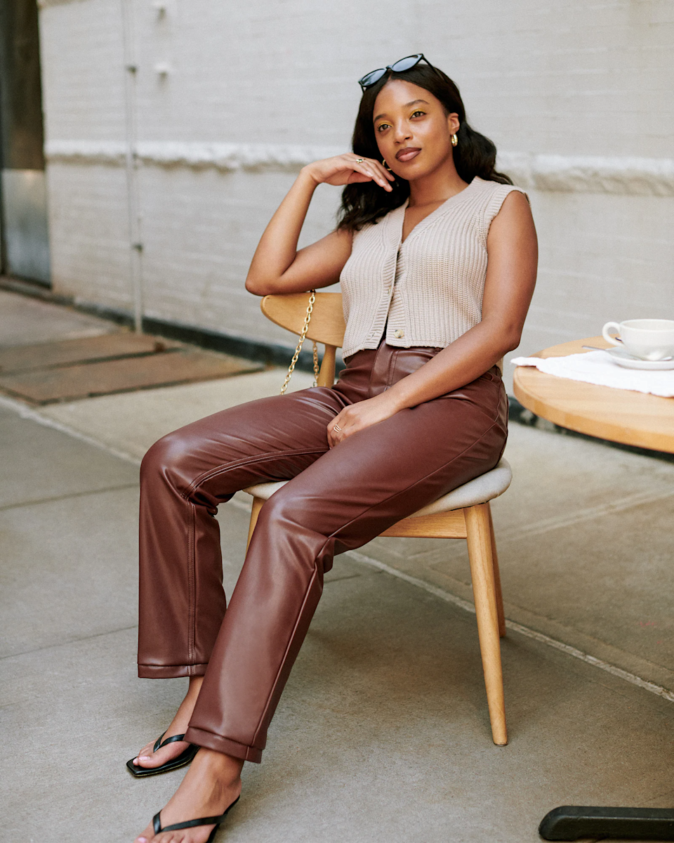 """<h2>Abercrombie & Fitch Vegan Leather 90s Straight Pants</h2><br>""""I have been looking for the right pair of straight-legged faux leather pants. It's definitely tough to find a good quality pair in plus-sizes, but this pair from Abercrombie definitely seems like it's made really well."""" <em>– Chichi Offor, Affiliate Associate Writer</em><br><br><em>Shop </em><a href=""""http://abercrombie.com"""" rel=""""nofollow noopener"""" target=""""_blank"""" data-ylk=""""slk:Abercrombie & Fitch"""" class=""""link rapid-noclick-resp""""><em>Abercrombie & Fitch</em></a><br><br><strong>Abercrombie and Fitch</strong> Vegan Leather 90s Straight Pants, $, available at <a href=""""https://go.skimresources.com/?id=30283X879131&url=https%3A%2F%2Fwww.abercrombie.com%2Fshop%2Fus%2Fp%2Fvegan-leather-90s-straight-pants-46922362"""" rel=""""nofollow noopener"""" target=""""_blank"""" data-ylk=""""slk:Abercrombie and Fitch"""" class=""""link rapid-noclick-resp"""">Abercrombie and Fitch</a>"""