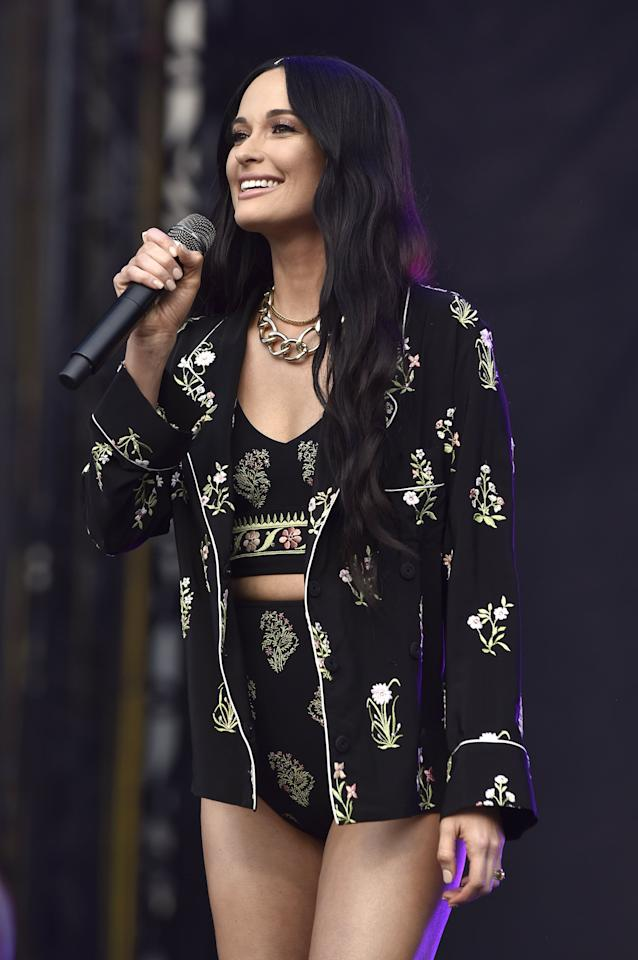 <p>Kacey Musgraves was seen in Giambattista Valli while performing at the 2019 ACL Music Festival.</p>