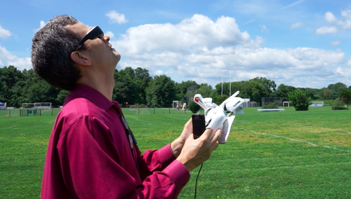 David Pogue flying a drone