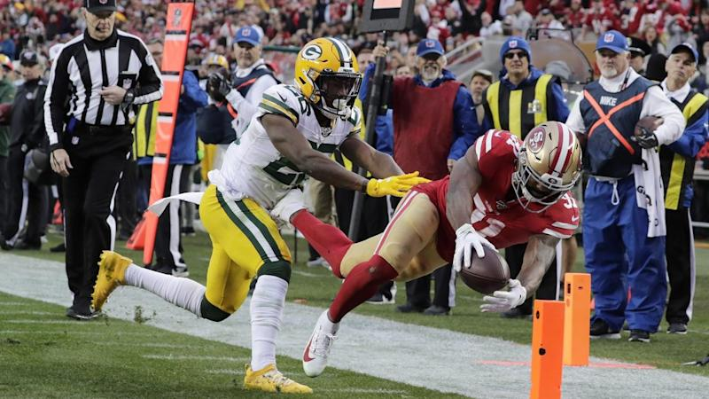 49ers running back Raheem Mostert crossed for four touchdowns in the victory over the Packers