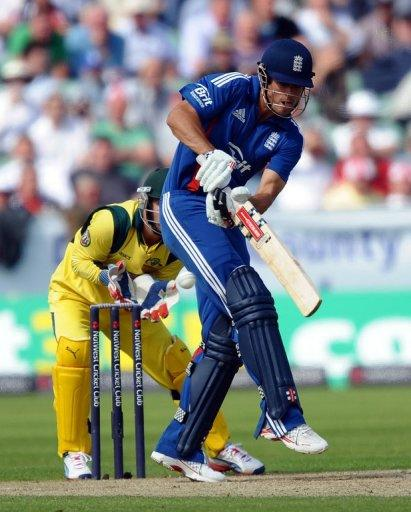 England batsman Alastair Cook (right) misses a shot during the fourth one-day international between England and Australia in Chester-le-Street on July 7. Cook wants no let up from his side as they eye a 4-0 series win over arch-rivals Australia at Old Trafford on Tuesday