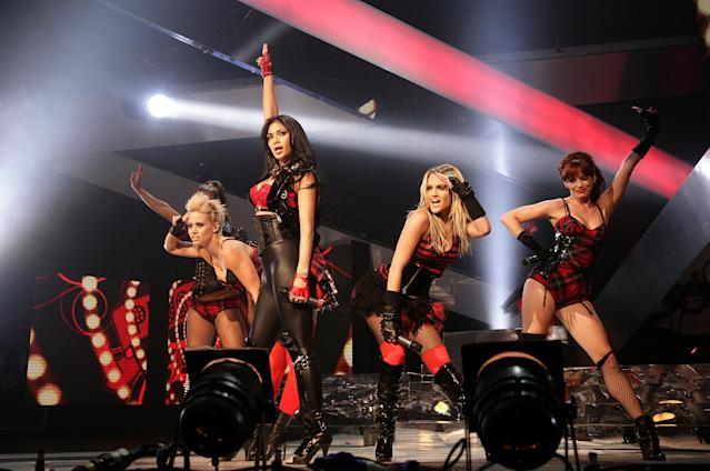 The Pussycat Dolls performing at the Vodafone Live Music Awards 2008