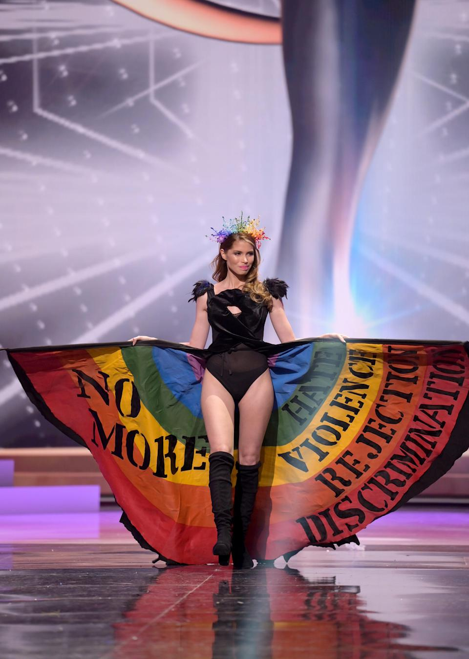 Lola De los Santos, Miss Universe Uruguay 2020, on stage during the National Costume Show at the Seminole Hard Rock Hotel & Casino in Hollywood, Florida, on May 13, 2021.